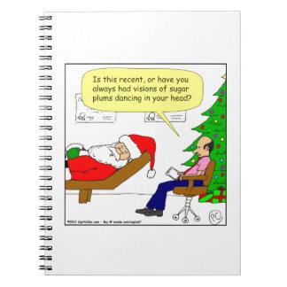 x30 Santa talks to his therapist - Cartoon Spiral Notebook