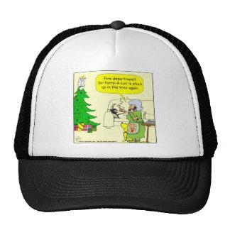 x34 cat up tree cartoon trucker hat