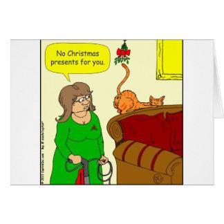x55 Cat butt mistletoe Christmas cartoon Greeting Card