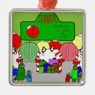 x67 expresan el dibujo animado de santa adorno navideño cuadrado de metal