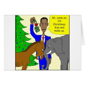 x69 donkey elephant president Obama cartoon Greeting Cards