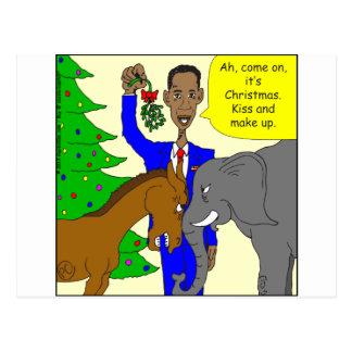 x69 donkey elephant president Obama cartoon Postcards