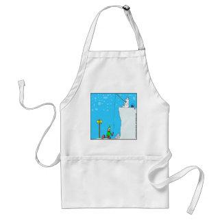 x77 (366) polar bear fishing for elf cartoon adult apron