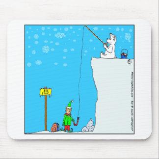 x77 (366) polar bear fishing for elf cartoon mouse pad