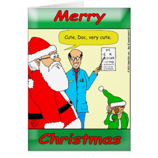 x80 Santa goes to the eye doctor Greeting Card