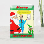 """x80 Santa goes to the eye doctor Holiday Card<br><div class=""""desc"""">Even eye doctors can be funny. Have you noticed that Santa's elves are always touching stuff?</div>"""