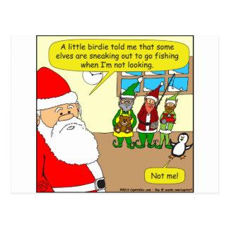 x81 Santa's elf has gone fishing? Cartoon Postcard