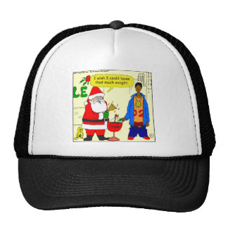 x91 Santa wishes he could loose weight cartoon Mesh Hat