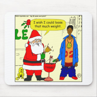 x91 Santa wishes he could loose weight cartoon Mouse Pad