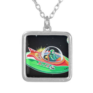 X-15 FLYING SAUCER SILVER PLATED NECKLACE