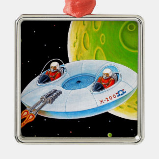X-200 FLYING SAUCER METAL ORNAMENT