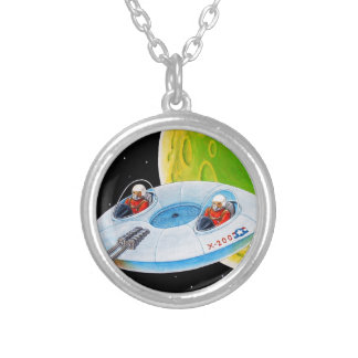X-200 FLYING SAUCER SILVER PLATED NECKLACE