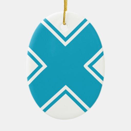 X azul adorno ovalado de cerámica