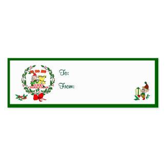 X - CHRISTMAS ELF MONOGRAM GIFT TAGS BUSINESS CARD TEMPLATE
