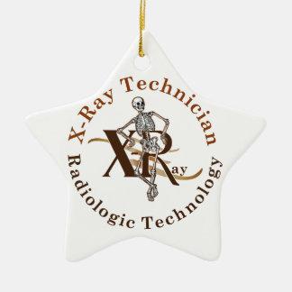 X círculo Brown del técnico del rayo Ornamento De Navidad