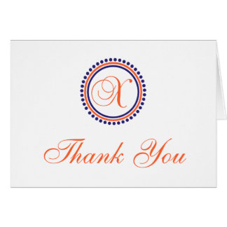 X Dot Circle Monogam Thank You (Orange/Navy Blue) Card