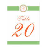 X Dot Circle Monogram Table Number (Mint / Orange) Post Card