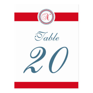 X Dot Circle Monogram Table Number (Red / Blue) Postcard