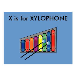 """""""X"""" está para el alfabeto Flashcard del xilófono Postales"""