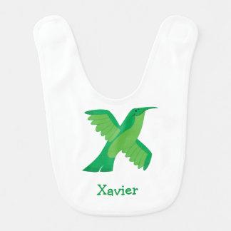 X está para el babero del bebé de Xantus