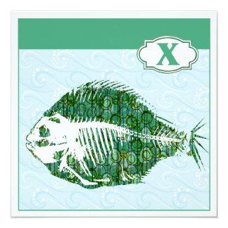 """X está para los pescados de la radiografía invitación 5.25"""" x 5.25"""""""