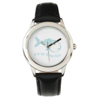X está para los pescados de la radiografía relojes de pulsera