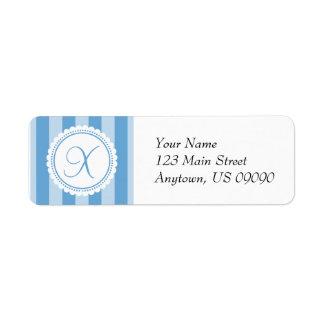 X etiquetas de dirección del monograma del Striper