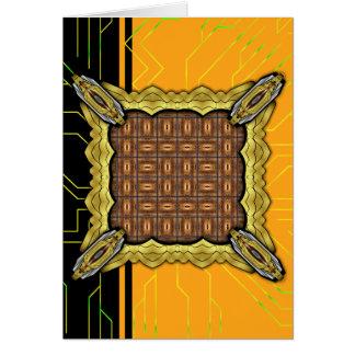 X Flames Grid Border Greeting Card