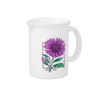 X for Xerantheumum Floral Monogram Drink Pitcher