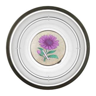 X for Xerantheumum Floral Monogram Pet Bowl