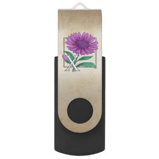 X for Xerantheumum Floral Monogram Swivel USB 2.0 Flash Drive