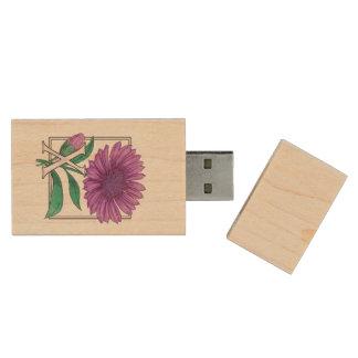 X for Xerantheumum Floral Monogram Wood USB 2.0 Flash Drive