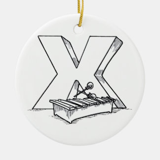 x for xylophone outline ceramic ornament