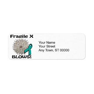 X frágil sopla diseño de la conciencia etiqueta de remite