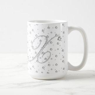 X Initial Monogram White Diamonds Print Coffee Mug