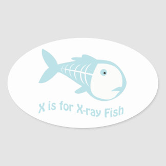 X is for X-Ray Fish Oval Sticker