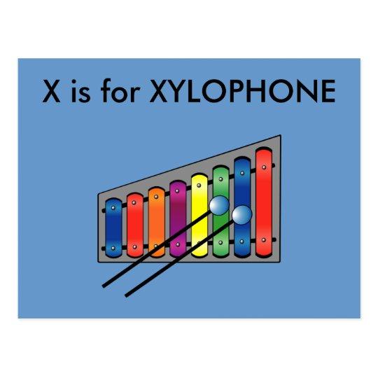 """X"" is for Xylophone Alphabet Flashcard Postcard"