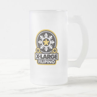 X-Large Filipino - Black Frosted Glass Beer Mug