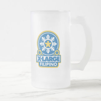 X-Large Filipino - Blue Frosted Glass Beer Mug