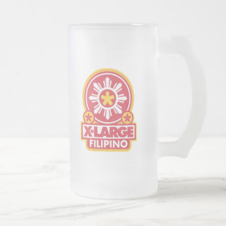X-Large Filipino - Red Frosted Glass Beer Mug