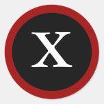 X: Letra inicial X de X pegatinas rojos, blancos y