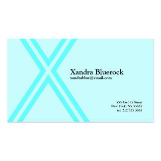 X Letter Alphabet Business Card Blue