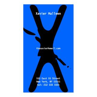 X Letter Alphabet Business Card Neon Blue
