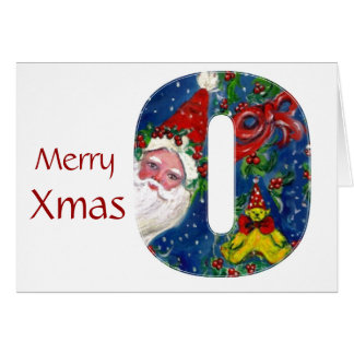 X LETTER / SANTA CLAUS WITH RED RIBBON MONOGRAM GREETING CARD