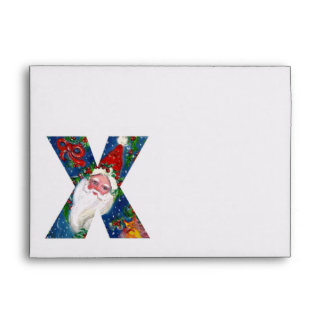 X LETTER / SANTA CLAUS WITH RED RIBBON MONOGRAM ENVELOPE
