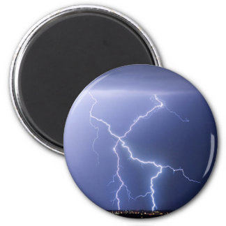 X Lightning Bolts In The Sky Bolts 2 Inch Round Magnet