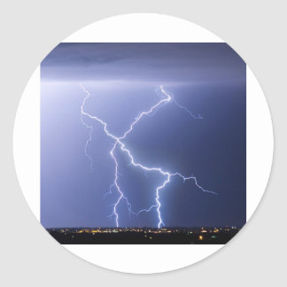 X Lightning Bolts In The Sky Bolts Classic Round Sticker
