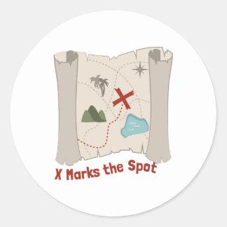 X Marks Spot Round Stickers