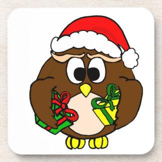 X-Mas Owl Beverage Coaster