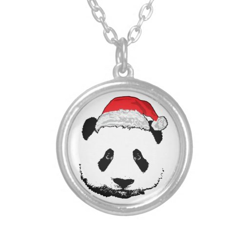 X-Mas Panda Round Pendant Necklace